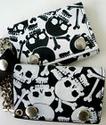 SKULLS Trifold Leather Chain Wallet You Choose Skull and Crossbones