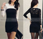 Women's Slim Round Neck Spell Color Long Sleeve Lace Package Hip Dress A3492 GBW