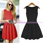 Black/Red Girl Sleeveless Dress Style Tight Pleated Nipped Waist Skirts Back Zip
