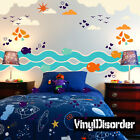 Fish Birds Waves Cloud Wall Decal - Nursery Room Decor - AnimalWallKitID008EY