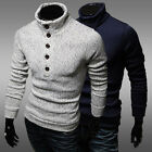 Fashion Casual Mens Slim Fit Pullover Cardigan Sweater Coat Turtleneck Knitwear