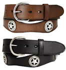 Mens Western Star Concho Genuine Cowhide Leather Scalloped Edge Cowboy Belt