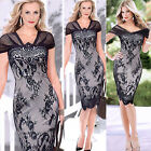 Women's Sexy Lady V-Neck Lace Splicing Bandage Bodycon Pencil Knee-Length Dress