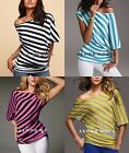 VICTORIAS SEXY OFF-THE-SHOULDER TUNIC TOPS STRIPED TEES T-SHIRTS -sz XS,S,M,L,XL
