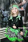 Halloween Rhinestone Tinker Bell Black Top Green Zebra Baby Girl Pettiskirt 1-8Y