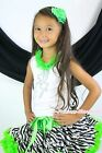 Halloween Rhinestone Tinker Bell White Top Green Zebra Girl Pettiskirt Set 1-8Y