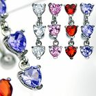 Triple Crystal Gem Reverse Heart Navel Belly Bar Ring 14ga ( 1.6MM ) Bar 10mm
