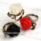 1pc Vintage Style Crystal Bronze 3D Rose Flower Adjustable Finger Ring Jewelry