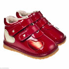Girls Childrens Ankle Boots Toddler Infant Red Patent & Fleece Little Blue Lamb