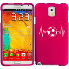 For Samsung Galaxy Note 2 3 4 Rubber Hard Case Cover Heart Beats Soccer