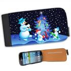 Snowman Family Decorating Xmas Tree Leather Flip Case for Samsung S3