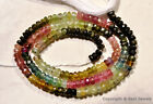 "Multi TOURMALINE 3.5-4mm Faceted Rondelle Gemstone Beads 13"" Strand"