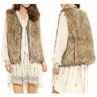 Europe Women Brown Sleeveless Leather like Stitching Faux Fur Winter Vests Coat