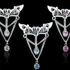 316L Surgical Stainless Steel Reverse Heart CZ Gem Hinge Dangle Belly Ring B4