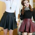 High Waist Dress Pu Leather Mini Skirt Women's 2 Colors Flared Skater Party C1my