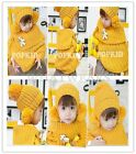 Baby Kid Toddler Girl Knit Winter Warm Hat & Cloak Caps Cape Hat Shawl Wraps SOZ