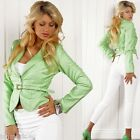 804 Ladies Stylish Leather Look Waist Green Jacket incl Belt Size XL UK 14 EU 42
