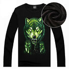 New Men Round Neck Fleece T-Shirt Wolf Printed Pullover Tops Warm Fashion