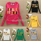 Girls Pullover Long Sleeve Blouse Shirt Sweater Top 6 Color UK FO