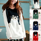 G Women Girls Cute Cat Pattern Knitted Pullover Sweater Casual Loose Tops Jumper