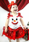 XMAS Minnie Snowman White Top Red Sparkle Sequins Girl Pettiskirt Outfit 1-8Year