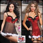 *UK* Ladies Sexy Santa Christmas Lingerie Fancy Dress Outfit Chemise Babydoll