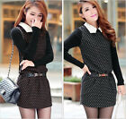 Womens Autumn Winter Cotton Sweater Sleeve Dress Polka Dots Belted Mini Dress