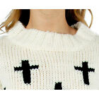 New Fashion Women Vintage Casual Cross Printed Thicken Pullover Knitted Sweater