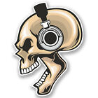 2 x Headphone's Skull Vinyl Sticker iPad Laptop Music Kids Skate Car Gift #4451
