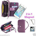 Purple Zip Purse Leather Case Cover For Apple iPhone 4S 4+SP+Stylus