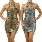 S M L Halter Dress Shiny Metallic Ruched Leopard Foil Crisscross Neck Club New