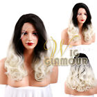 "Long Curly 24"" Black Roots with Light Blonde Lace Front Wig Heat Resistant"