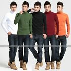 New Men's Solid Color Round Neck Long Sleeve T-shirt Tops Wicked Mock Turtleneck