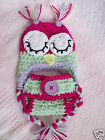 Crochet Baby Set PINK SLEEPY OWL HAT w/ D.COVER * PHOTO PROPS * SHOWER GIFT