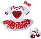 Baby Heart Red White Bodysuit Pettiskirt Valentine's Day Party Dress Tutu Shoes