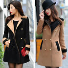 Eye Catching Women Trendy Two Pockets Hit Color Badges Wool Coat Jackets FOUK