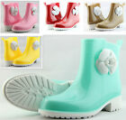 Sexy Womens Cute Camellia Flat Low Heel Rubber Rain Ankle Boots Girl Jelly Shoes