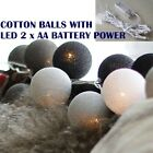 20 COTTON BALL/GLOBE STRING LIGHT with BATTERY POWER: VALENTINE, GIFT, FAIRY