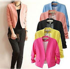 Girls Women's Fashion Korea Candy Color Solid Slim Suit Blazer Coat Jacket