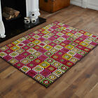MEDIUM SMALL MODERN LARGE MULTI COLOUR BLOCK DESIGN  CHEAP AND BEST QUALITY RUGS