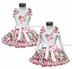 Daddy Is My Valentine Heart White Top Shirt Rose Girl Pettiskirt Outfit Set 1-8Y