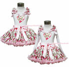 Valentine's Day Pink Rose Heart White Top Shirt Girl Pettiskirt Outfit 1-8Year