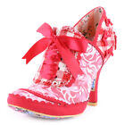 Irregular Choice Georgia Rose Womens Heels Fabric Red Pink New Shoes All Sizes
