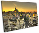 Madrid Spain City Sunset Yellow Framed Canvas Wall Art Picture Print