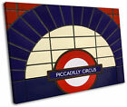 London Piccadilly Circus Underground Sign Framed Canvas Wall Art Picture Print