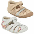 CLARKS LITTLE MAE F AND G FIT WHITE LEATHER COMBI PREWALKERS FLORAL PRINT SHOES