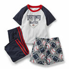 CARTERS BOY FOOTBALL BASEBALL DESTINED TO BE DRAFTED PAJAMA 12M 18M 24M 2T 3T 5T
