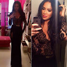 Black Sexy Long Lace Sleeve Maxi Thigh Split Party Evening Women Lady Full Dress