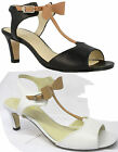VAN DAL BOW LADIES BUCKLE DETAIL OPEN TOE T BAR STYLE LEATHER MID HEEL SHOES