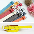 Women Candy Color Leather like White Buckle Thin Waistband Belt limited offer